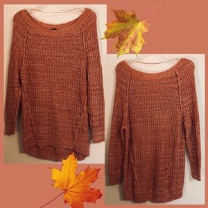 Free People~ coral & white marled knit sweater S